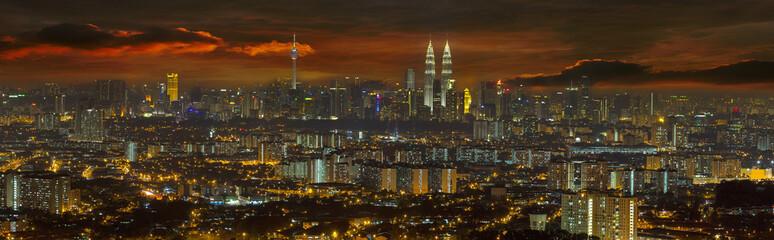 Kuala Lumpur Cityscape at Sunset Panorama