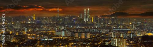 Aluminium Kuala Lumpur Kuala Lumpur Cityscape at Sunset Panorama