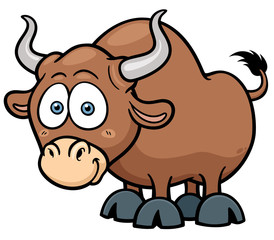 Vector illustration of cartoon Bull