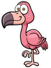 Vector illustration of cartoon flamingo