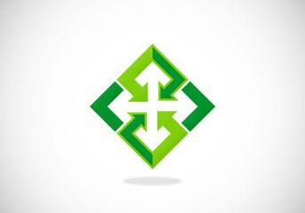 square arrow connection vector logo