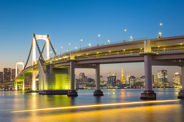 Tokyo skyline with Tokyo tower and rainbow bridge. Tokyo, Japan