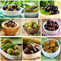 collage of different varieties of olives