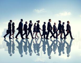 Business People Urban Scene Commuter Busy Walking Concept
