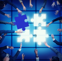 Jigsaw Support Team Cooperation Togetherness Unity Concept