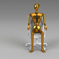 3d rendering businessman doll is sitting on chair