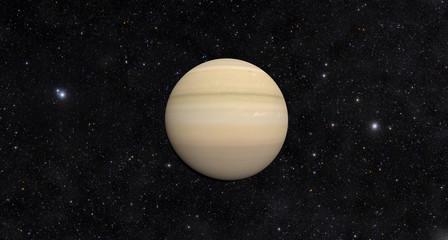 Planet Saturn on Stars Background