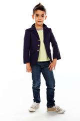 Young boy posing in studio