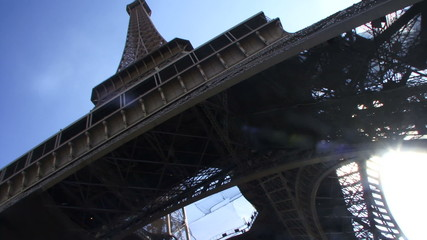 Low angle view and PAN on Eiffel Tower, Paris France