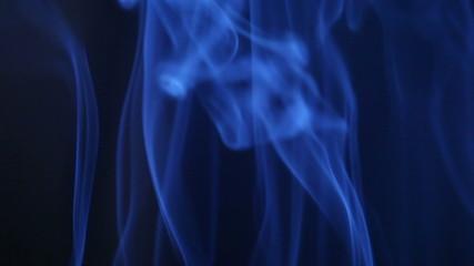 Real blue wavy smoke