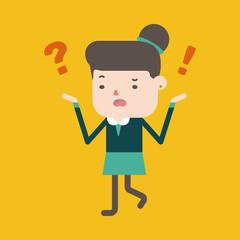 Character illustration design. Businesswoman having question car