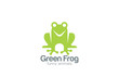 Green Frog Silhouette Logo design vector template - 79608403
