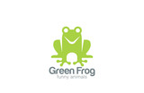 Green Frog Silhouette Logo design vector template