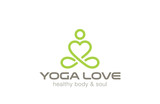 Yoga Logo design vector. Heart shape SPA logotype icon