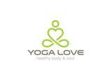Fototapety Yoga Logo design vector. Heart shape SPA logotype icon