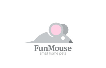 Abstract Funny Mouse Logo design vector template