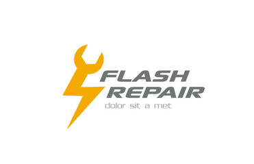 Quick Fast Flash Repair Logo design vector. Repairing icon
