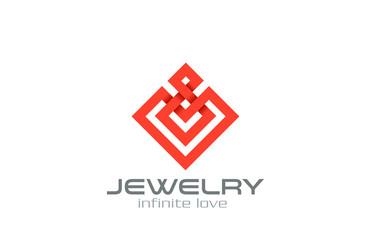 Infinity loop Abstract Square Rhombus Logo design vector