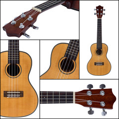 Ukulele guitar isolated on white background collage