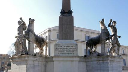 Sculptural ensemble Dioscuri. Plaza del Quirinale. Rome, Italy.