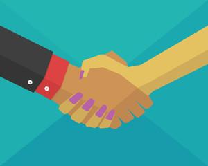 Businessman & Businesswoman shaking hands