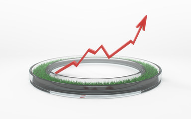 Glass ring with grass growth red chart up
