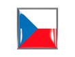 Square icon with flag of czech republic