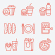 Food icons, thin line style, flat design - 79610621