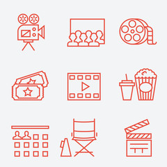 Cinema icons, thin line style, flat design