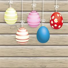 5 Easter Eggs Ribbon Wood
