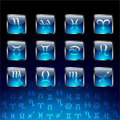Signs of zodiac on glossy icons.