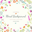Floral background with flowers and herbs