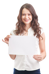 Happy businesswoman holding a white banner
