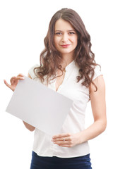 Businesswoman holding a white banner