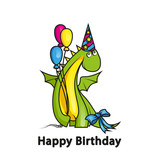 Cute cartoon dragon wearing party hat and holding balloons