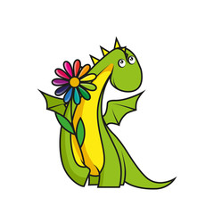Cute little dragon with flower