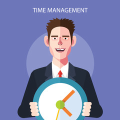 Flat character of time management concept illustrations