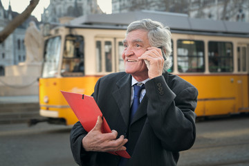 Businessman chatting on the phone