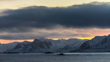 Clouds over the Arctic fjord - Spitsbergen