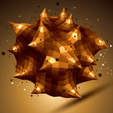 Abstract asymmetric vector golden object with lines mesh, compli poster