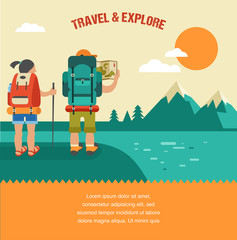 Vector vintage background with backpackers, forest, hills and
