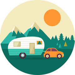 Vector vintage background with nature, forest, hills and camper
