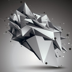 Geometric monochrome polygonal structure with lines mesh, modern