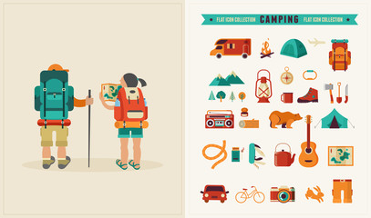 Vector vintage poster with couple of backpackers and set of