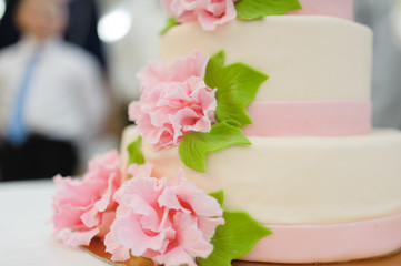 sweet Wedding cake decorated with beautiful flowers