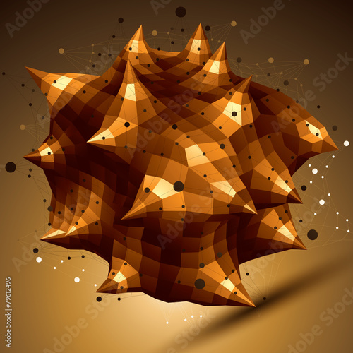 poster of Abstract asymmetric vector golden object with lines mesh, compli