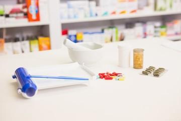 Close up of pills and mortar
