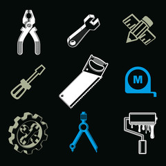Set of 3d detailed tools, repair theme stylized graphic elements