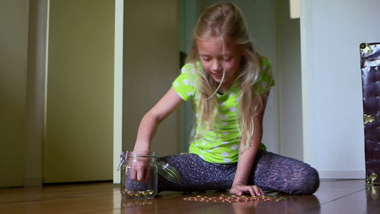 Girl counting coin