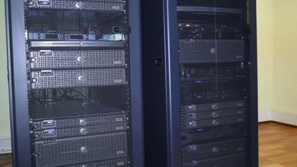 Server farm, rack. Computer servers.